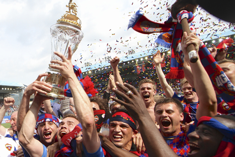 After five fruitless years, CSKA had finally managed to win the Russian Premier League. Source: AP
