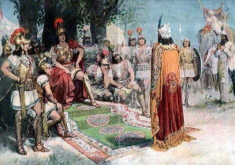 Alexander meets Porus. Source: wikipedia.org