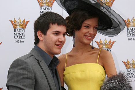 """Son of famous Russian oligarch and private oil company LUKoil head Vagit Alekperov. Yusuf (left) on horserace """"Grand prix of Radio of Monte-Carlo"""". Horserace took place at the Central Moscow hippodrome. Source: Kommersant"""