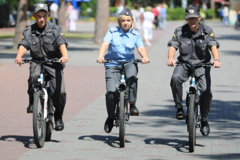 "Moscow authorities decided to ""bicyclize"" the city's police to improve its efficiency. Source: ITAR-TASS"