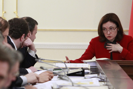 "Central Bank Chairman Elvira Nabiullina (R): ""We are speaking of those enterprises only whose loans are government insured."" Source: Rossiyskaya Gazeta"
