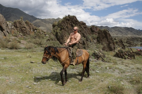 The Indian youth are easily impressed with images like this one of a shirtless Putin on horseback. Source: AP