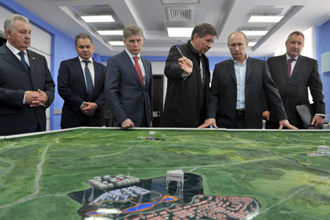 Inspecting the Vostochny cosmodrome this spring, President Putin (second right) noted that the new site will be far more effective than the existing one in a number of ways. Source: ITAR-TASS