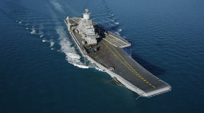 The aircraft carrier Vikramaditya on trials in the White Sea has met its  manoeuvrability and speed specification, achieving a speed of 29.3 knots. Source: Oleg Perov / Sevmash press office