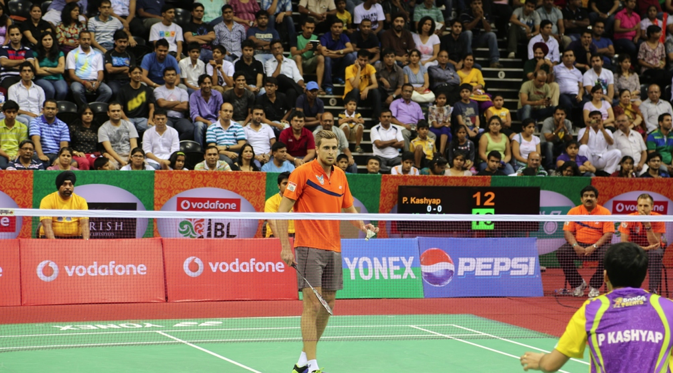 Vladimir Ivanov, Russia's badminton champion, at the Indian Badminton League. Source: Alexander Tomas