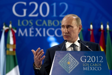 Russian President Vladimir Putin at the G20 summit in Los Cabos, Mexico. Source: AP