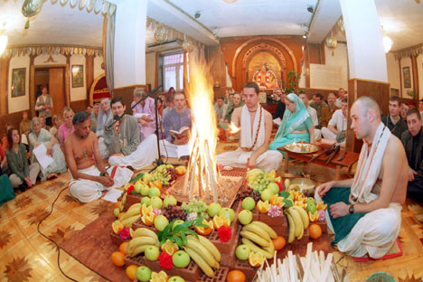 A Ramanavami pooja conducted by Hare Krishna followers in Russia. Source: Itar-Tass
