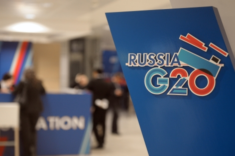 The G20 summit starts in St Petersburg on September 5. Source: Source: RIA Novosti / Grygory Sysoev