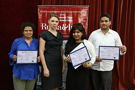 RIR representative in India Diana Alipova with the essay contest  winners (from left to right)  Rashmi Rajput, Nidhi Balachandran and Aqueel Ahmad. Source: Alexander Tomas