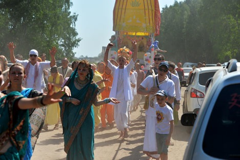 Hare Krishna devotees at a procession in Russia. Source: Alexey Malgavko / RIA Novosti