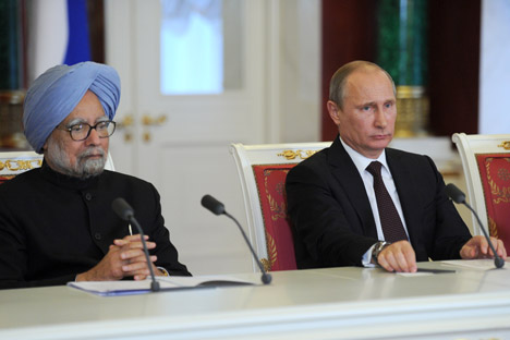 Russian President Vladimir Putin and Indian Prime Minister Manmohan Singh during the press statement following Russian-Indian talks in the Kremlin on October 21, 2013. Source: Alexey Nikolsky/RIA Novosti