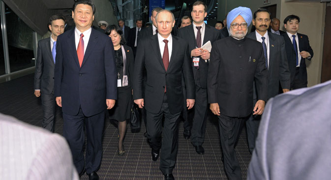 Heads of government of Russia, India and China. With New Delhi on board, the SCO would become a global organization. Source: Photoshot