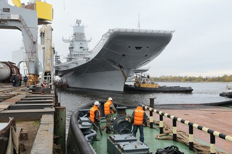 INS Vikramaditya at the Sevmash shipyard. Source: AO Sevmash press office