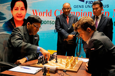 Viswanathan Anand at the World Chess Championship in Chennai, India, November 9, 2013. Source: AP