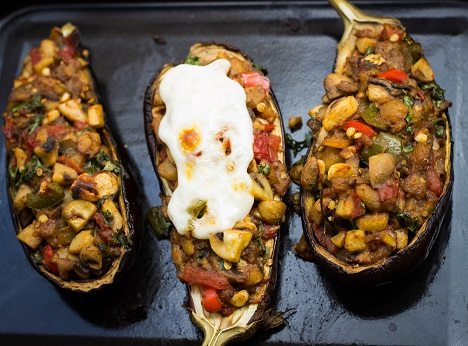 Eggplant stuffed with mushrooms. Source: Divya Shirodkar