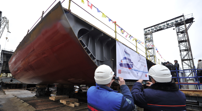 The world's largest universal nuclear-powered icebreaker is planned to be completed by 2017. Source: Itar-Tass