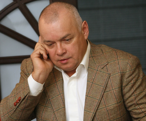 "Dimtry Kiselyov: ""Restoration of a just attitude toward Russia as an important world country with good intentions - that's the mission of the new structure I am about to head"". Source: RIA Novosti / Vladimir Fedorenko"