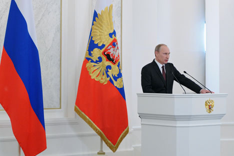 Vladimir Putin gives his annual State of the Union at the Kremlin. Source: RIA Novosti