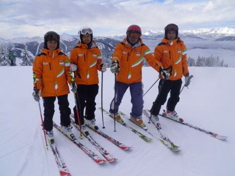Skiing team India. Anchal Thakur is second from left. Source: Winter Games Federation of India
