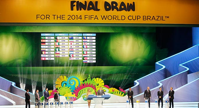 The drawing pots are listed on the screen during the draw ceremony for the 2014 soccer World Cup in Costa do Sauipe near Salvador, Brazil, Friday, Dec. 6, 2013. Source: AP