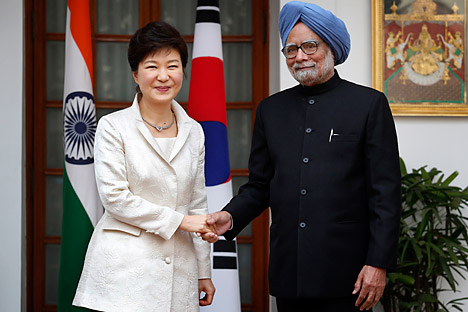 South Korean President Park Geun-hye on a state visit to India. Source: AP