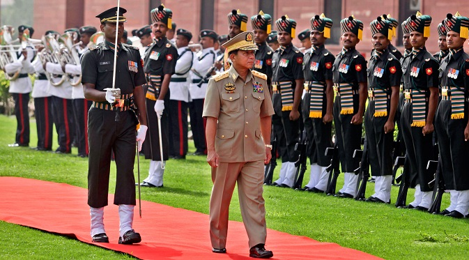 Myanmar Army Commander Gen Min Aung Hlaing on a visit to Delhi in 2012. Source: AP