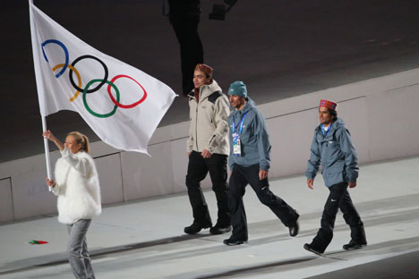 Indian athletes marching under an IOC flag at the Sochi opening ceremony. Source: Picture Alliance/Photoshot