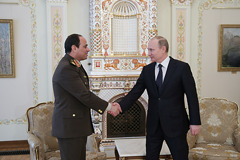 Egyptian Army chief Field Marshal Abdel Fattah al-Sisi was warmly received by Russian President Vladimir Putin during his first trip abroad following his seizure of power in a coup last year.  Source: RIA Novosti