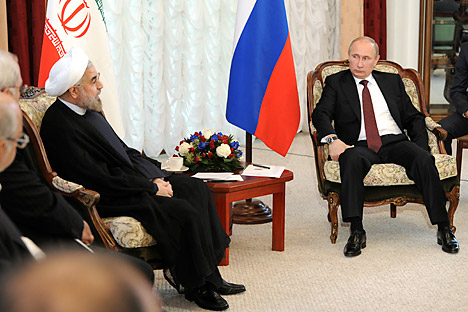 Russia's President Vladimir Putin (R) meets with his Iranian counterpart Hassan Rouhani during the Shanghai Cooperation Organization (SCO) summit in Bishkek last year. Source: REUTERS/Mikhail Klimentyev/RIA Novosti/Kremlin