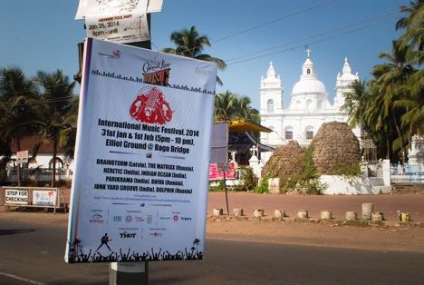 A festival banner near the Calungute church. Source: Alexandra Katz