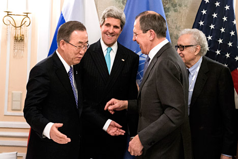 Lavrov (second right) once again drew the Euro-Atlantic political elite's attention to the fact that the prolonged conflict has turned Syria into a bastion of extremists and terrorists from all over the world. Source: AP