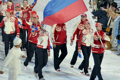 Year in and year out, only Olympic champions were the flag bearers in Russia. Source: RIA Novosti