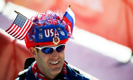 An American fan enjoying the proceedings at Sochi. Source: Reuters