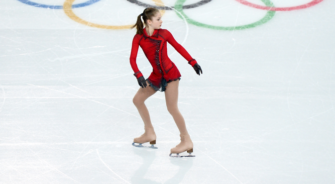 Yulia Lipnitskaya performs her free skating program during the women's team figure skating competition at the XXII Olympic Winter Games in Sochi. Source: Alexander Vilf / RIA Novosti