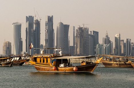 Traditional dhows in front of the West Bay skyline as seen from the Corniche, in Doha, Qatar. Source: StellarD / wikipedia