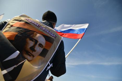 Participants in the rally to support Crimea residents in Stavropol, on March 7. Danil Semenov / RIA Novosti