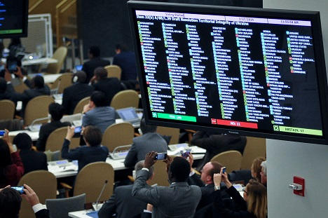 UN General Assembly vote on a draft resolution regarding Ukraine on March 27, 2014. Source: Itar-Tass