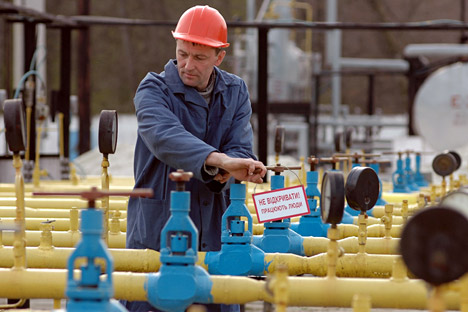 'Do not open while people are working' - reads a warning sign on a gas pipe. Source: ITAR-TASS