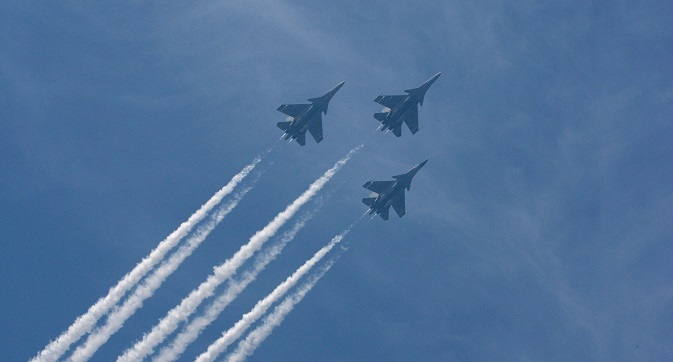 The Su- 30MKI can perform combat missions with three miniature missiles on each plane. Source: AP