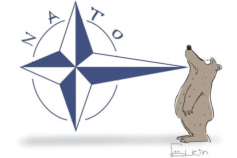 NATO looked menacing in its heyday. Drawing by Sergei Yolkin