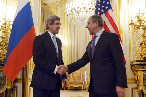 US Secretary of State John Kerry, left, gestures as he and Russian Foreign Minister Sergey Lavrov meet at the Russian Ambassador's Residence to discuss Ukraine, in Paris. Source: flickr.com / Eduard Peskov, Russia's Foreign Ministry