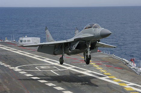 The first landing of the MiG-29KUB fighter, steered by an Indian pilot, on the Vikramaditya aircraft carrier's deck took place on February 7, 2014. Source: MiG Corporation