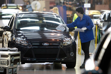 The Ford Sollers plant in Vsevolozhsk has suspended production and laid off 700 employees as part of cost optimization on April 21. Source: RIA Novosti / Vadim Zhernov
