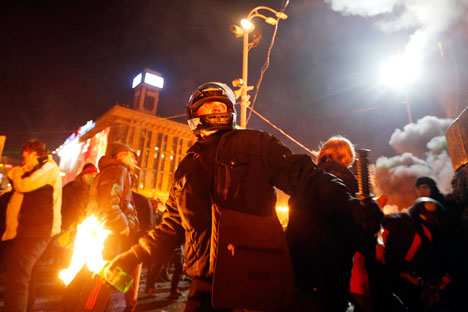 Violent scenes from Kiev's Maidan in February. Source: Reuters
