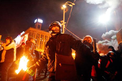 Violent scenes from Kiev's Maidan in February. Source: Reuters
