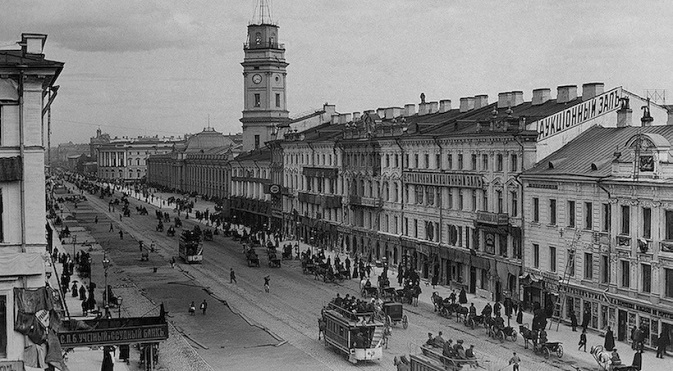 Nevsky Avenue in St. Petersburg in the 19th century. Source: wikipedia