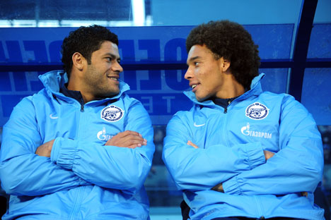 The players of St. Petesburg's Zenit: Hulk(L) and Axel Witsel. Source: ITAR-TASS