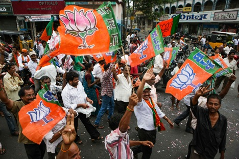 Supporters of BJP celebrate partie's historical victory in elections. Source: Photoshot / Vostock Photo