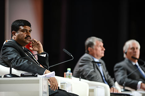 Dharmendra Pradhan at the 21st World Petroleum Congress in Moscow. Source: Vladimir Astapkovich/RIA Novosti