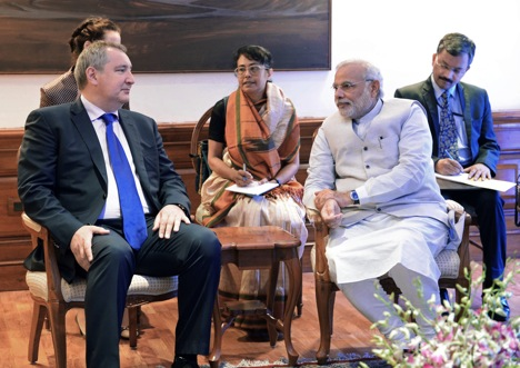 Deputy Prime Minister Dmitry Rogozin (letf) at the meeting with Indian Prime Minister Narendra Modi during his working visit to India. Source: Sergey Mamontov / RIA Novosti